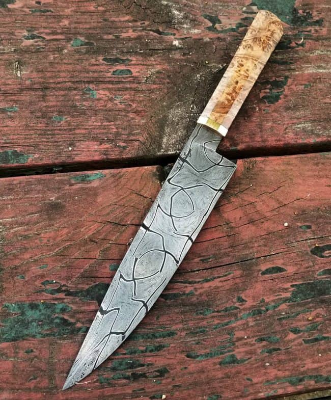 Mosaic Damascus Knife