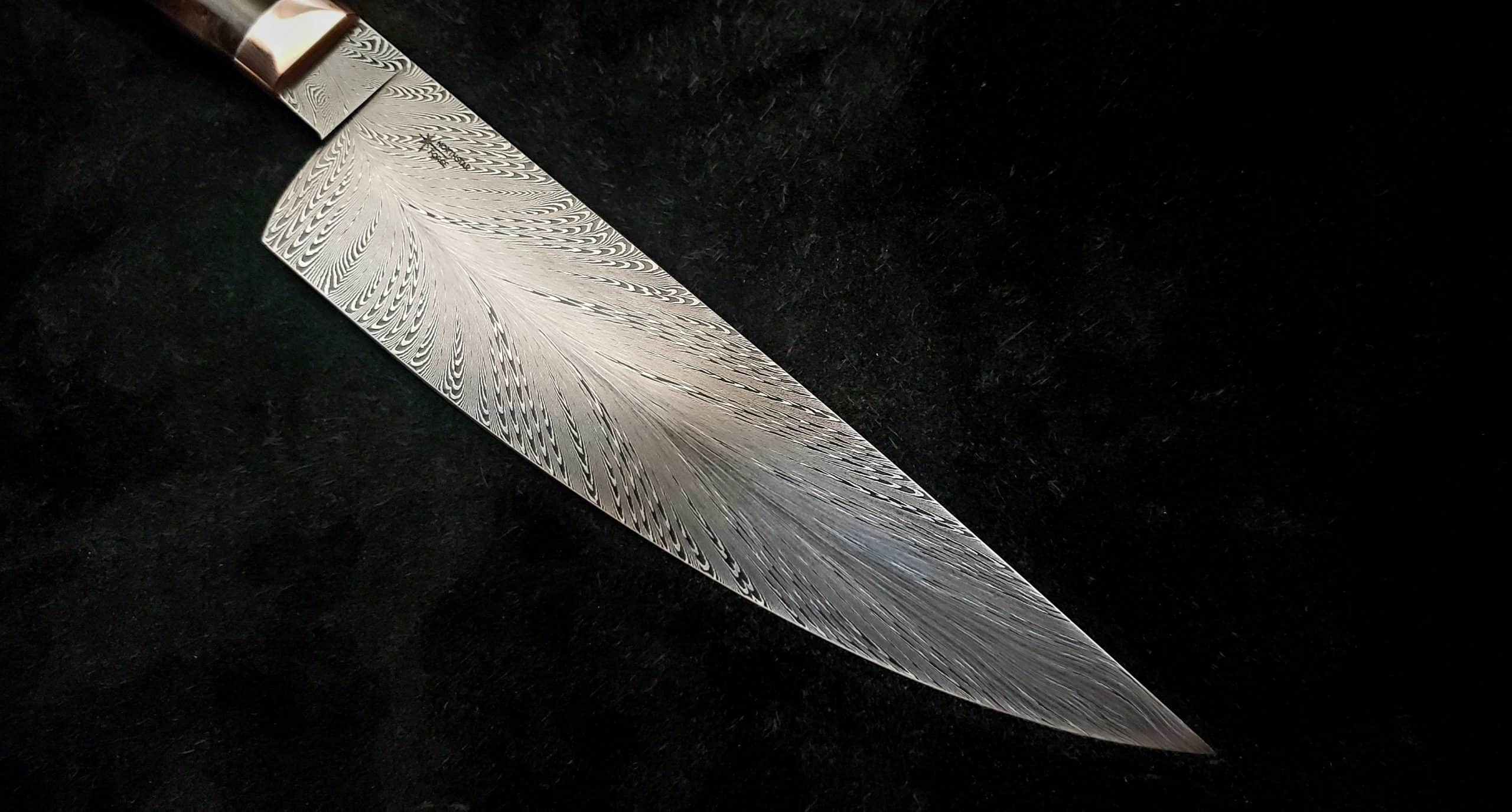 Damascus Chef Knife Close Up 1 scaled