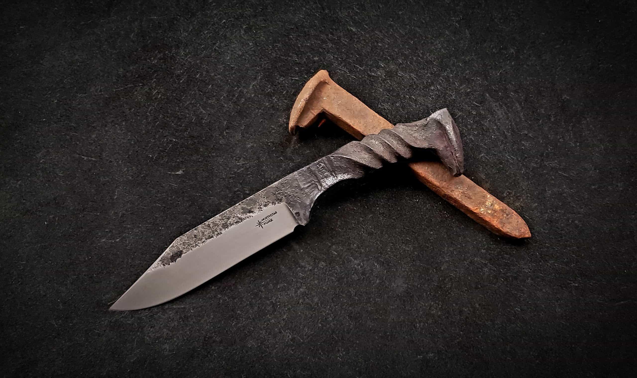 Hand Forged Custom Railroad Spike Skinning Knife One of a Kind