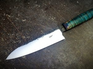 Chef Knife Stabilized Curly Maple Blue