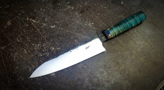 Chef Knife Stabilized Curly Maple Blue scaled