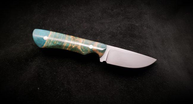 Figured Maple Stabilized Blue Hunter Knife 2 scaled