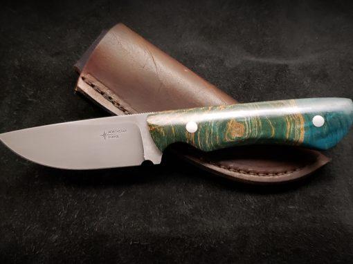 Figured Maple Stabilized Blue Hunter Knife