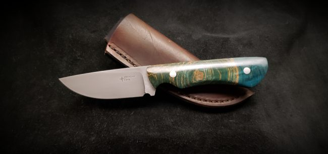 Figured Maple Stabilized Blue Hunter Knife scaled